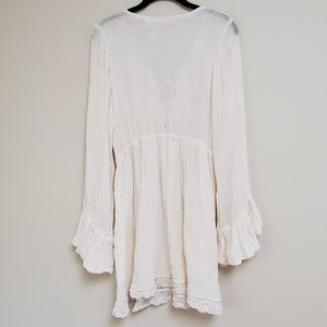 Jen's Pirate Booty Dresses - NWT Free People bell sleeve cover up lace up dress